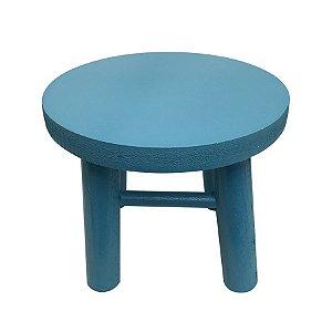 Banqueta de MDF Redonda Pequena Azul Tiffany