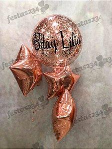 Bouquet de Balões Inflados com Gás Hélio - Kit Bubble personalizado com estrelas metalizadas