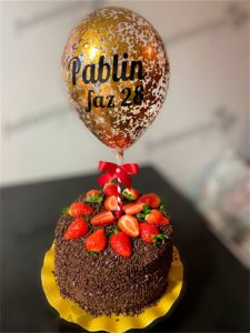 Topo de bolo de balão confete personalizado (duas linhas)