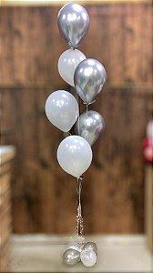 Bouquet de Balões Inflados com Gás Hélio - Kit 6 balões látex perolados e cromados