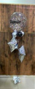 Bouquet de Balões Inflados com Gás Hélio - Kit Bubble personalizado com estrelas holográficas