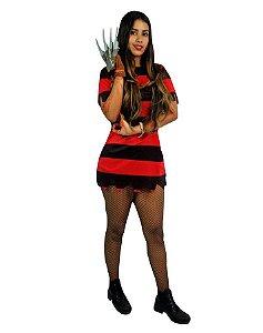 Fantasia Freddy Krueger Feminino Adulto Halloween