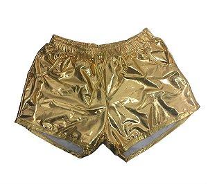 Fantasia Short Dourado Metalizado Carnaval
