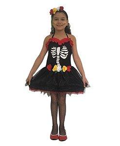 Fantasia Caveira Mexicana Infantil Halloween