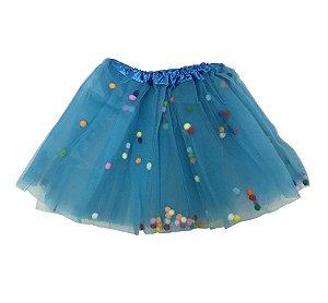 Saia de Tule Azul com Bolinhas Coloridas Infantil