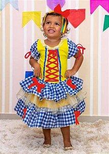 Fantasia Junino Infantil Amarelo e Quadriculado Azul Royal - Festa Junina