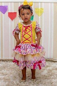 Fantasia Junino Bebê Amarelo e Quadriculado Patwork - Festa Junina