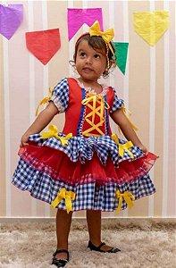Fantasia Junino Infantil Vermelho Quadriculado Azul Royal - Festa Junina