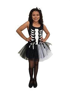 Fantasia Esqueleto Preta e Branca Infantil Halloween