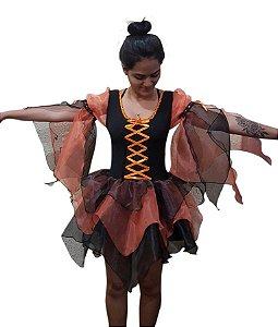 Fantasia Bruxa Bico Laranja Halloween