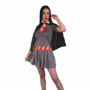 Fantasia Vestido Hermione Grifinória Adulto Halloween