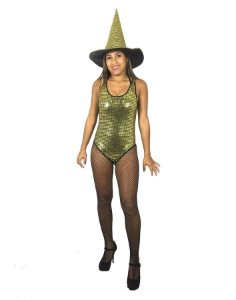 Fantasia Body Paetê Dourado Halloween