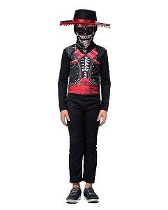 Fantasia Mariachi Caveira Mexicana Infantil Halloween