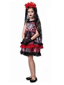Fantasia Rainha dos Mortos Infantil Halloween