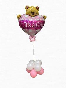 Bouquet com balão inflado com gás hélio It's a girl