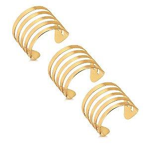 Trio de Anéis Reguláveis Folheado a Ouro 18K