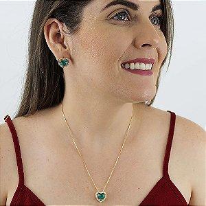 Conjunto de colar e brincos coração de zircônia turmalina paraíba folheado a ouro 18k