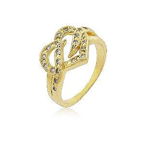 Anel Coração Cravejado de Zircônias Folheado a Ouro 18K