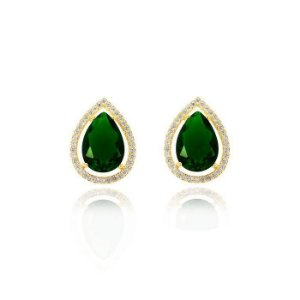Brinco gota grande de pedra natural verde esmeralda cravejado de zircônias folheado a ouro 18k