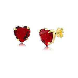 Brinco Coração de Cristal Vermelho Rubi Folheado a Ouro 18k