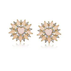 Brinco Luxo Coração Com Gotas De Pedras Natural Rosa Leitoso Folheado A Ouro 18k