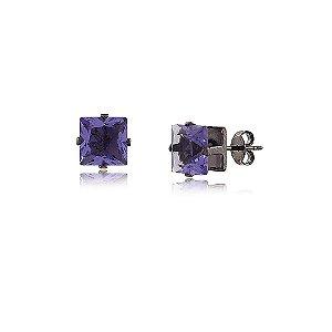 Brinco Pequeno Quadrado Zircônia Violeta Folheado a Ródio Negro