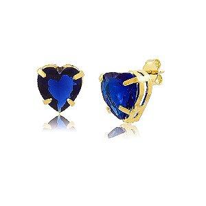 Brinco Coração de Zircônia Azul Montana Folheado a Ouro 18K