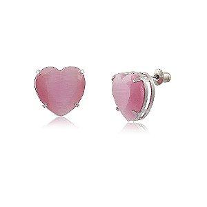 Brinco Coração Grande de Pedra Calcedônia Rosa Folheado a Ródio Branco