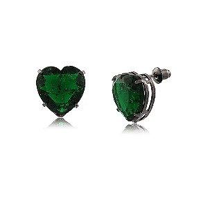 Brinco Coração Grande de Pedra Fusion Esmeralda Folheado a Ródio Negro
