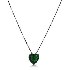 Colar coração grande de pedra fusion esmeralda folheado a ródio negro