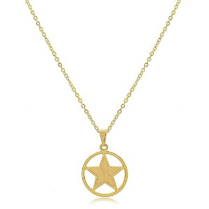 Colar Estrela de Davi Folheado a Ouro 18K