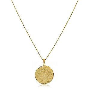 Colar Mandala Os Dez Mandamentos Folheado a Ouro 18k