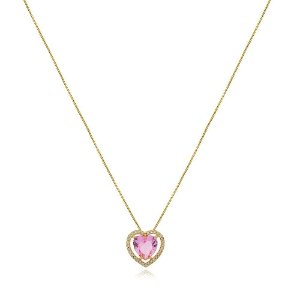 Colar coração pedra Rosa cravejado de zircônias folheado a ouro 18k