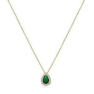 Colar de gota verde esmeralda de zircônias folheado a ouro 18k