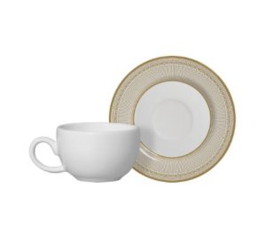 Set Xícara Café Plissan Dourado
