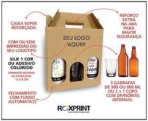 Kit com 100 Caixas para Cerveja Artesanal Modelo G3 para 3 Garrafas de 500 ou 600 ml