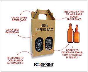 Kit com 100 Caixas para Cerveja Artesanal Modelo G2 para 2 Garrafas de 500 ou 600 ml