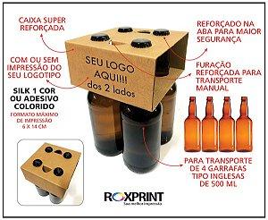 Kit com 100 Caixas para Garrafas Inglesas 500ml - Modelo Carry4