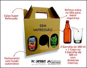 Kit com 100 Caixas para Cerveja Artesanal Modelo Pek3 para 3 Garrafas de 300 ou Latão de 475 ml