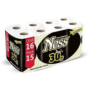 Papel higiênico folha dupla 10 X 30 metros (pacote com 16 rolos) - Ness