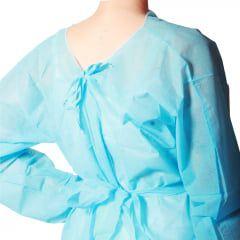 Avental azul 20 gr com mangas TNT pcte c/10 und - Betel