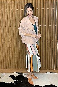 Jaqueta em suede rosa - tam 44