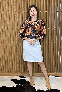 Blusa florida manga longa - tam P