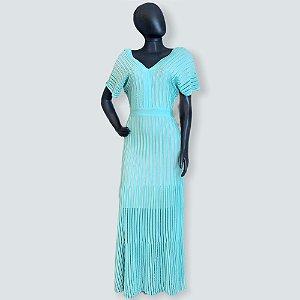 Vestido longo maria pavan azul thiffany