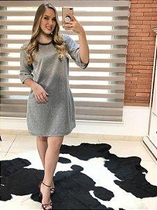 Vestido cinza fios prata