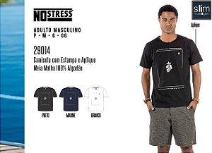 Camiseta Masculina No Stress c/ Estampa e Aplique