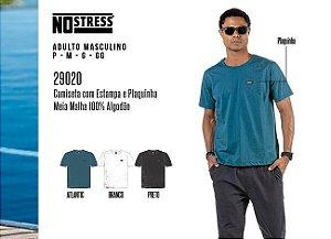 Camiseta Masculina No Stress c/ Estampa e Plaquinha