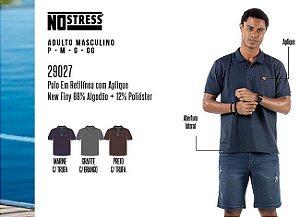 Camisa Polo em Retilínea Masculina No Stress c/ Aplique