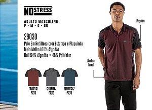 Camisa Polo em Retilínea Masculina No Stress c/ Estampa e Plaquinha