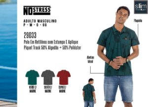 Camisa Polo em Retilínea Masculina No Stress c/ Estampa e Aplique